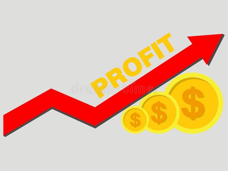Moedas de ouro e seta do gráfico acima Renda e lucros do conceito Vecto ilustração royalty free
