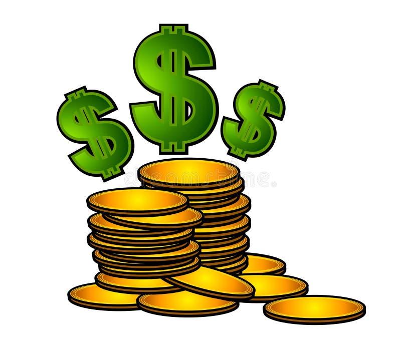 Moedas de ouro e sinais de dólar ilustração royalty free