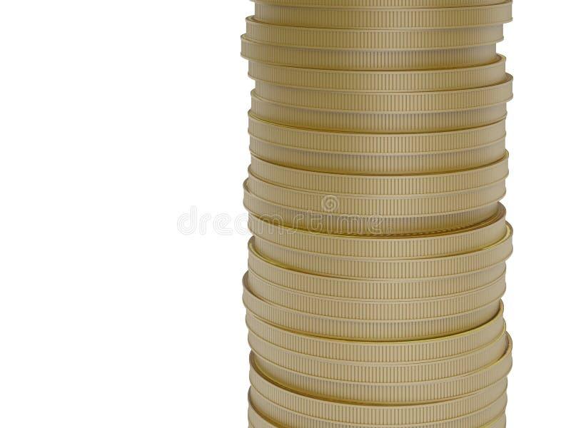 Moedas de ouro isoladas no fundo branco ilustração stock