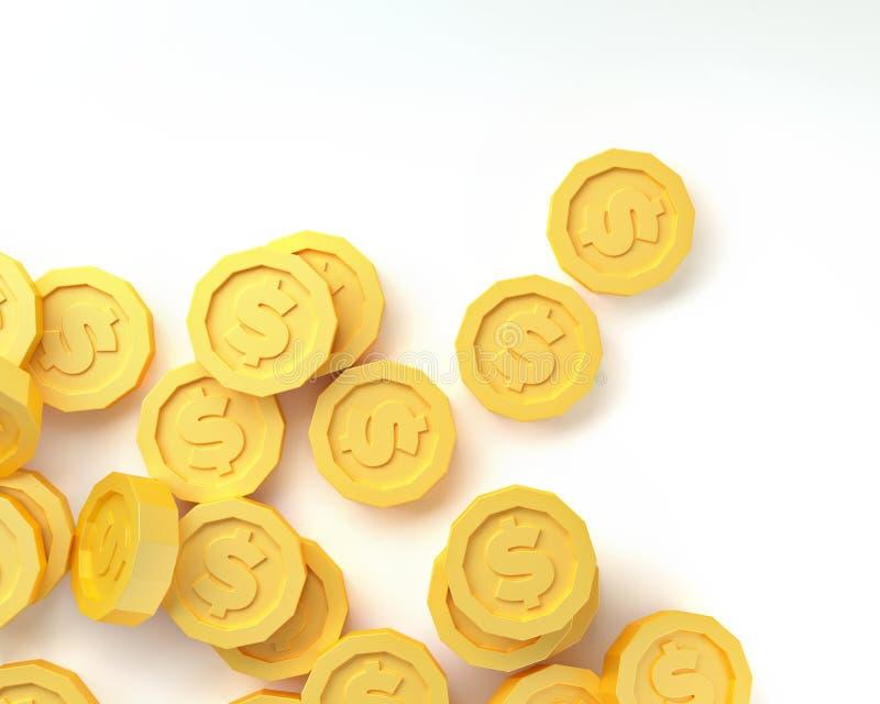 Moedas de ouro isoladas no fundo branco 3d rendem ilustração do vetor