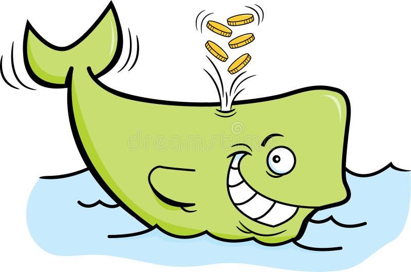 Moedas de ouro jorrando da baleia dos desenhos animados ilustração do vetor