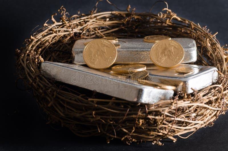 Moedas de ouro & ovo de ninho da barra de prata fotografia de stock royalty free