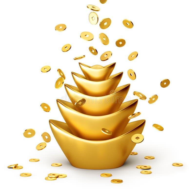 Moedas de ouro que caem no sycee chinês do ouro ilustração stock