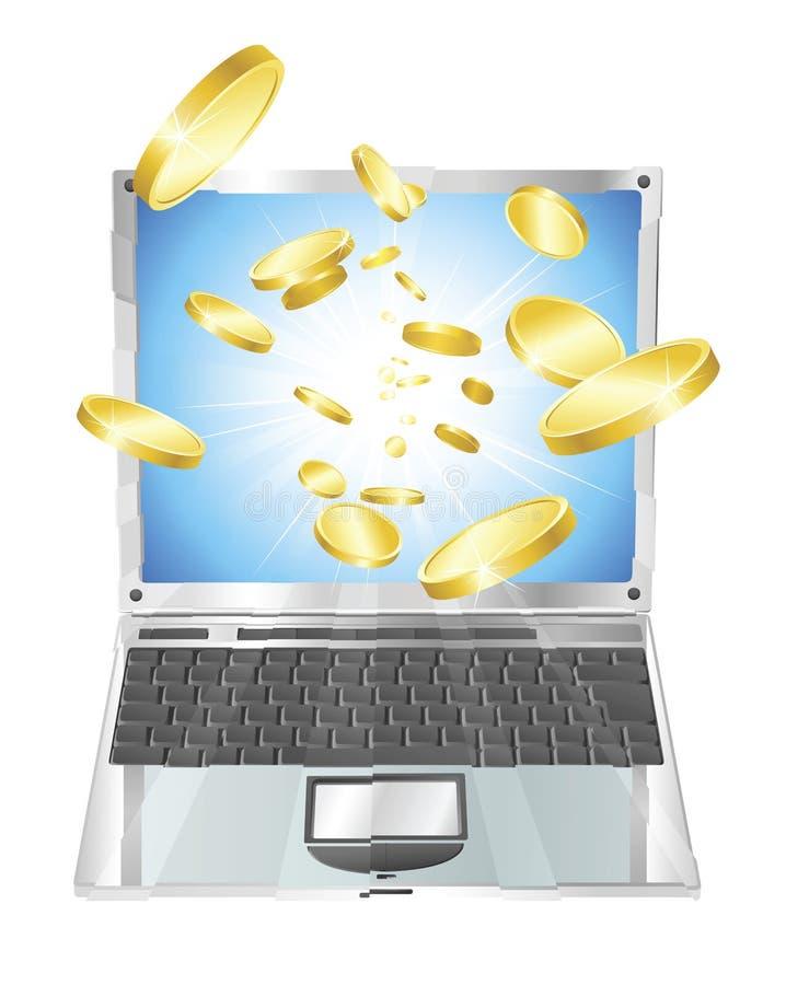 Moedas de ouro que voam fora do computador portátil ilustração royalty free