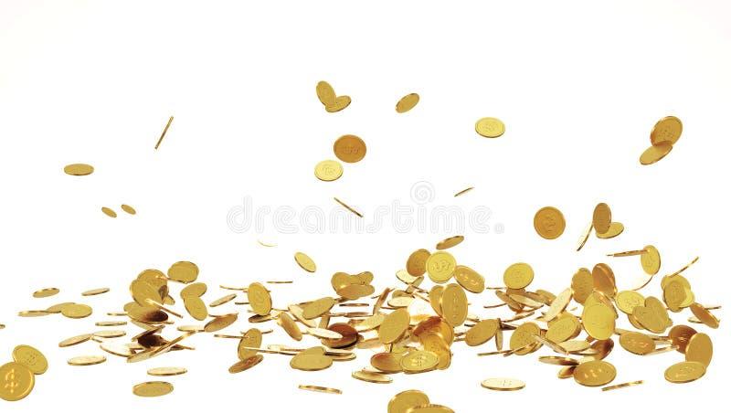 Moedas de ouro de queda Chuva das moedas douradas Moedas com o sinal de dólar isolado no fundo branco ilustração royalty free