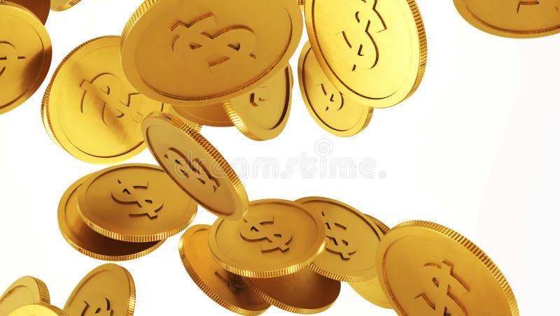 Moedas de ouro de queda Chuva das moedas douradas Moedas com o sinal de dólar isolado no fundo branco ilustração do vetor