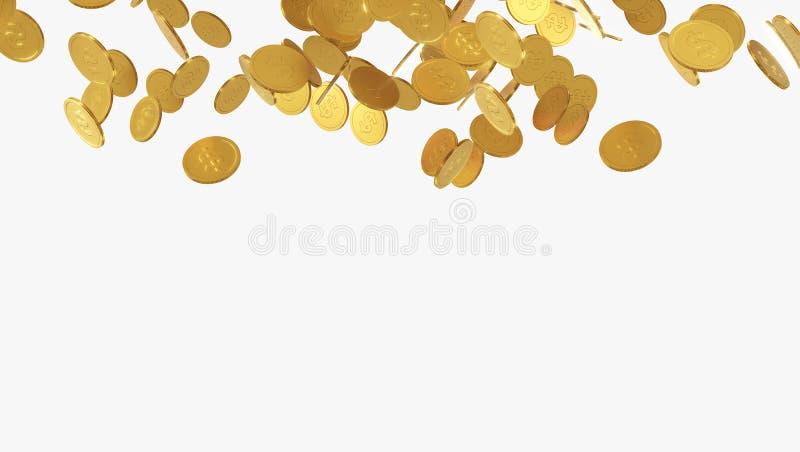 Moedas de ouro de queda Chuva das moedas douradas Moedas com o sinal de dólar isolado no fundo branco ilustração 3D ilustração stock