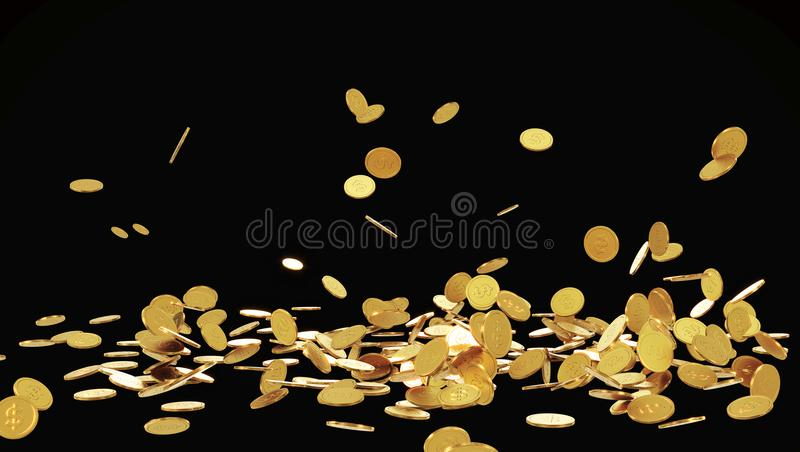 Moedas de ouro de queda Chuva das moedas douradas Moedas com o sinal de dólar isolado no fundo preto ilustração stock