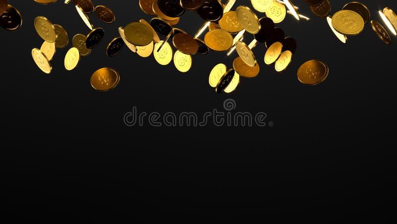 Moedas de ouro de queda Chuva das moedas douradas Moedas com o sinal de dólar isolado no fundo preto ilustração 3D ilustração stock
