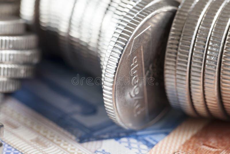Moedas de prata fotografia de stock royalty free