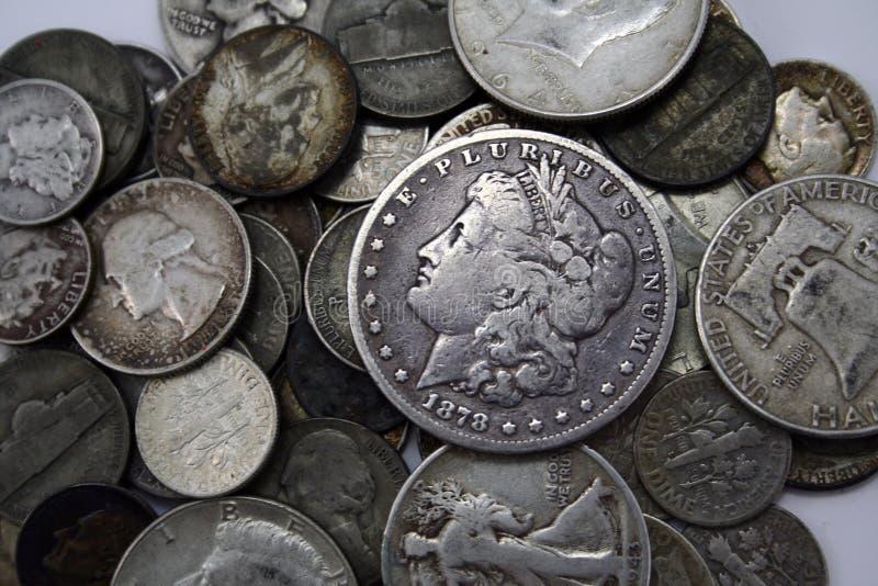 Moedas de prata imagem de stock