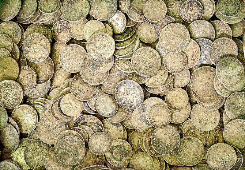 Moedas de prata antigas foto de stock royalty free