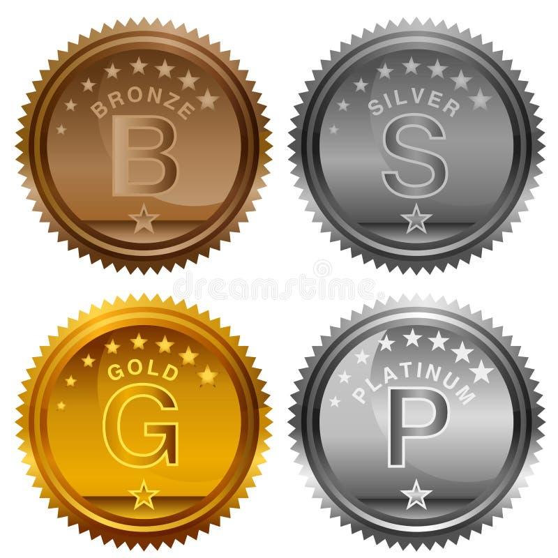 Moedas de prata de bronze da concessão da platina do ouro ilustração stock