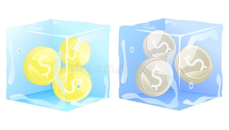 Moedas de prata do ouro congeladas no cubo de gelo. dinheiro ilustração do vetor