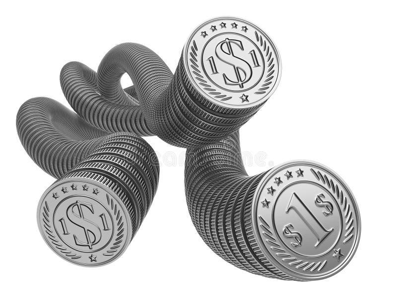 Moedas de prata um por um O conceito do dinheiro do fluxo de caixa ilustração stock