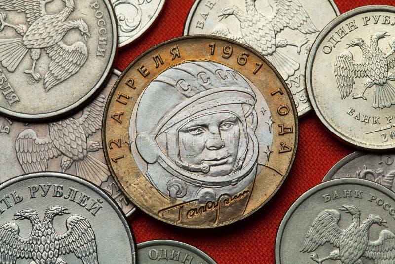 Moedas de Rússia Yuri Gagarin fotografia de stock