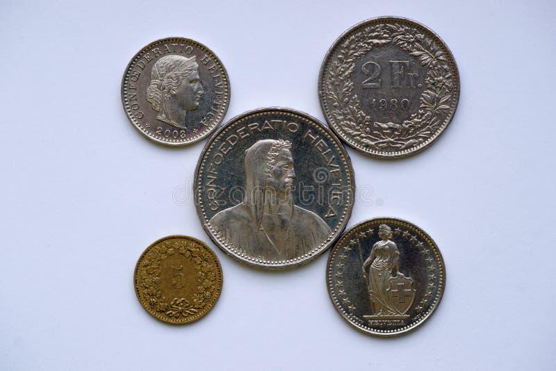 Moedas de Suíça imagem de stock royalty free