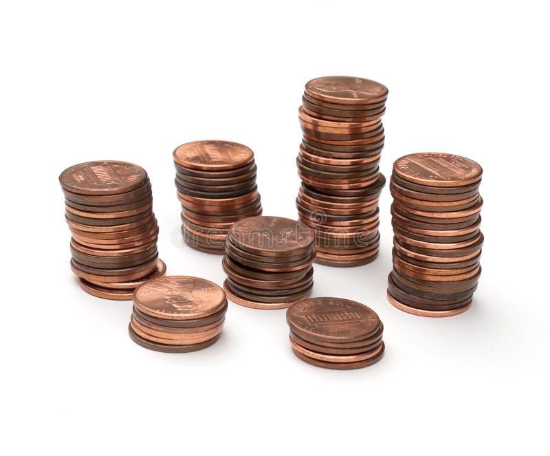 Moedas de um centavo imagem de stock royalty free
