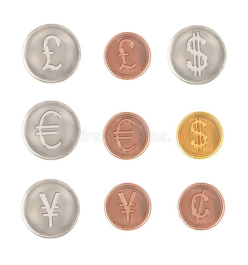 Moedas diferentes do símbolo de moeda ilustração royalty free