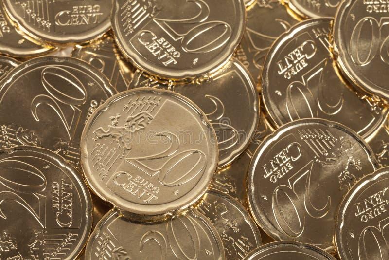 20 moedas do centavo de Euro foto de stock royalty free