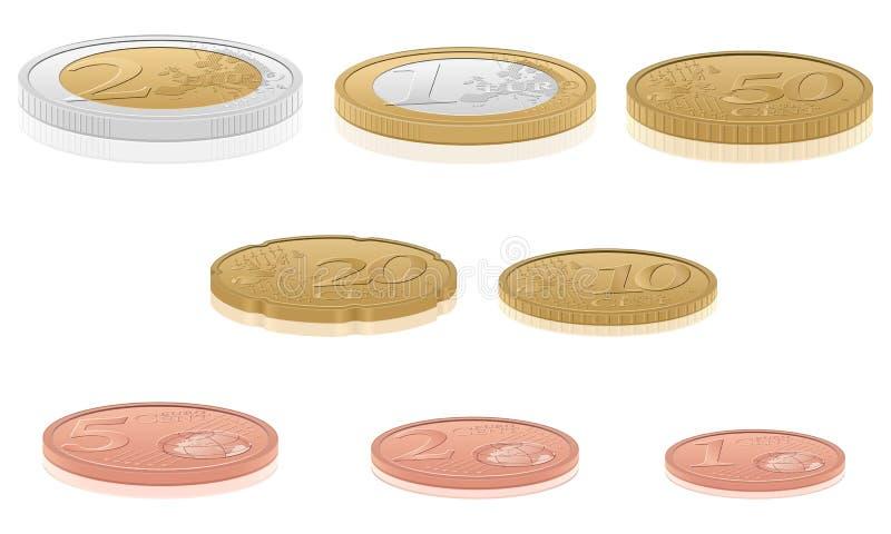 moedas do euro 3d ilustração stock