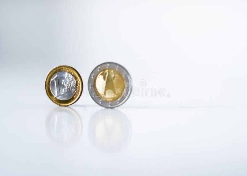 Moedas do Euro, moeda da Uni?o Europeia fotografia de stock