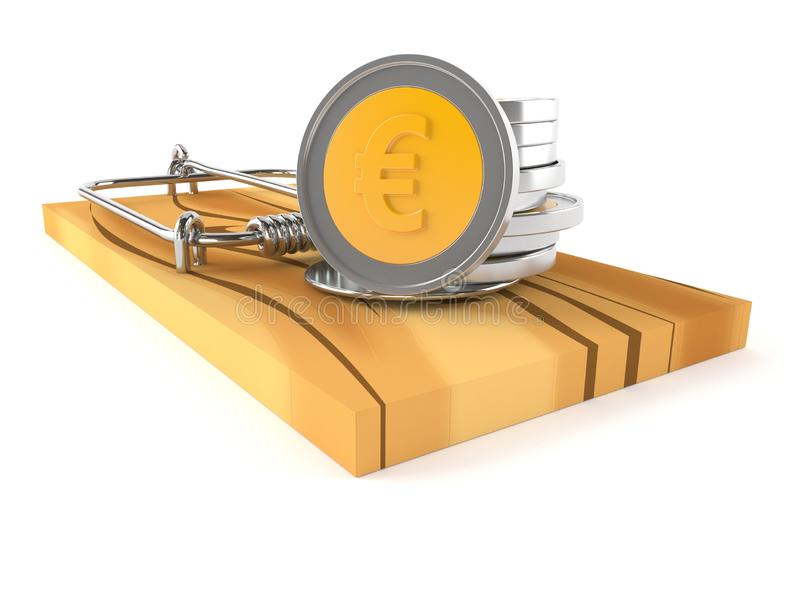 Moedas do Euro na armadilha do rato ilustração do vetor