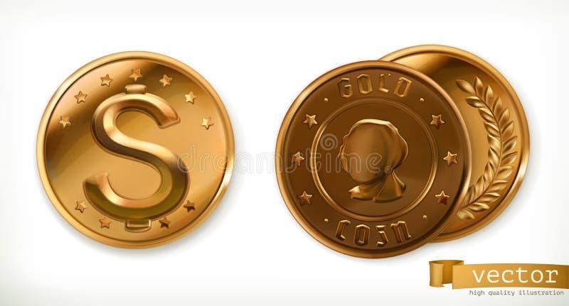 Moedas douradas Ícones do vetor do dinheiro ilustração stock