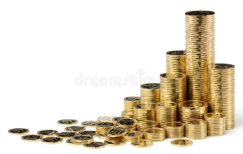 Moedas douradas fotos de stock royalty free