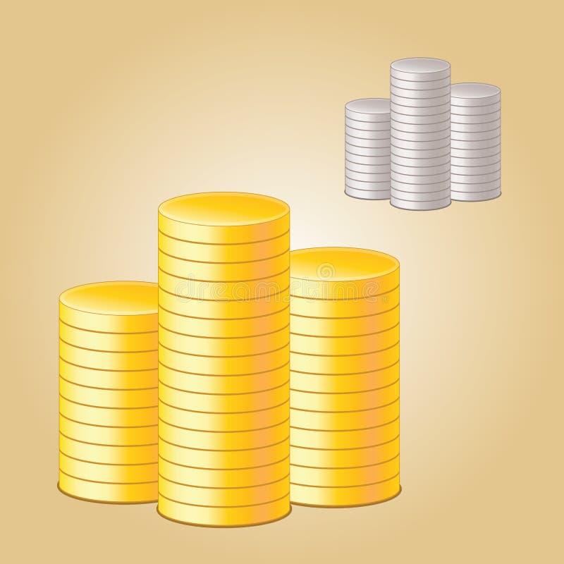 Moedas douradas ilustração stock