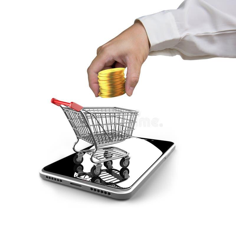 Moedas douradas, carrinho de compras, smartphone para o conce móvel do pagamento foto de stock royalty free
