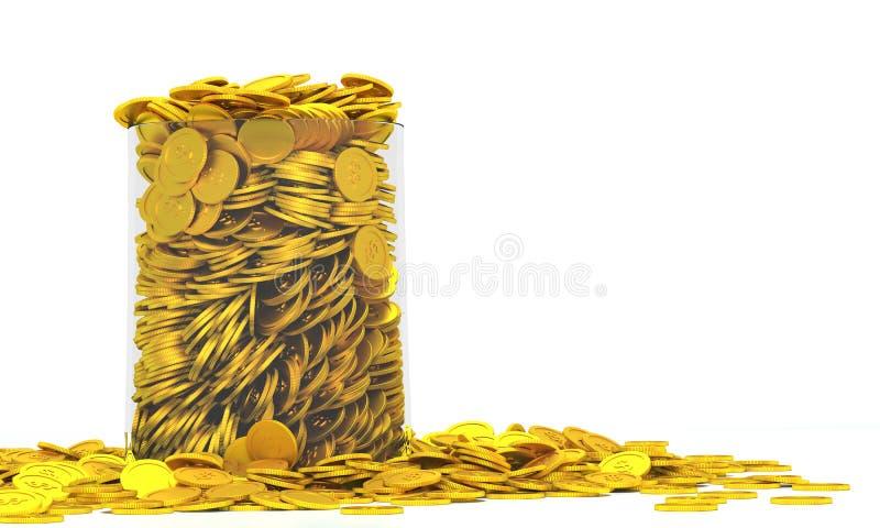 Moedas douradas cheios até a borda ilustração royalty free