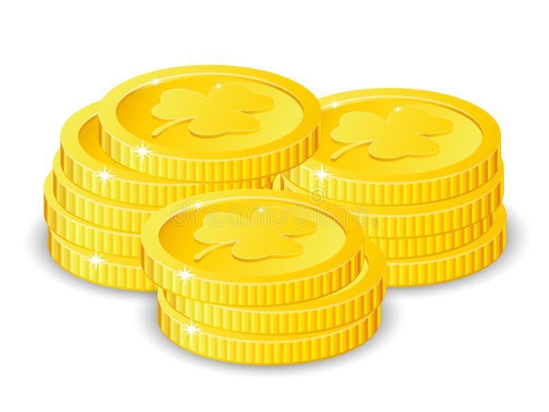Moedas douradas com o trevo de quatro folhas, ilustração do vetor, para o dia do ` s de St Patrick ilustração stock