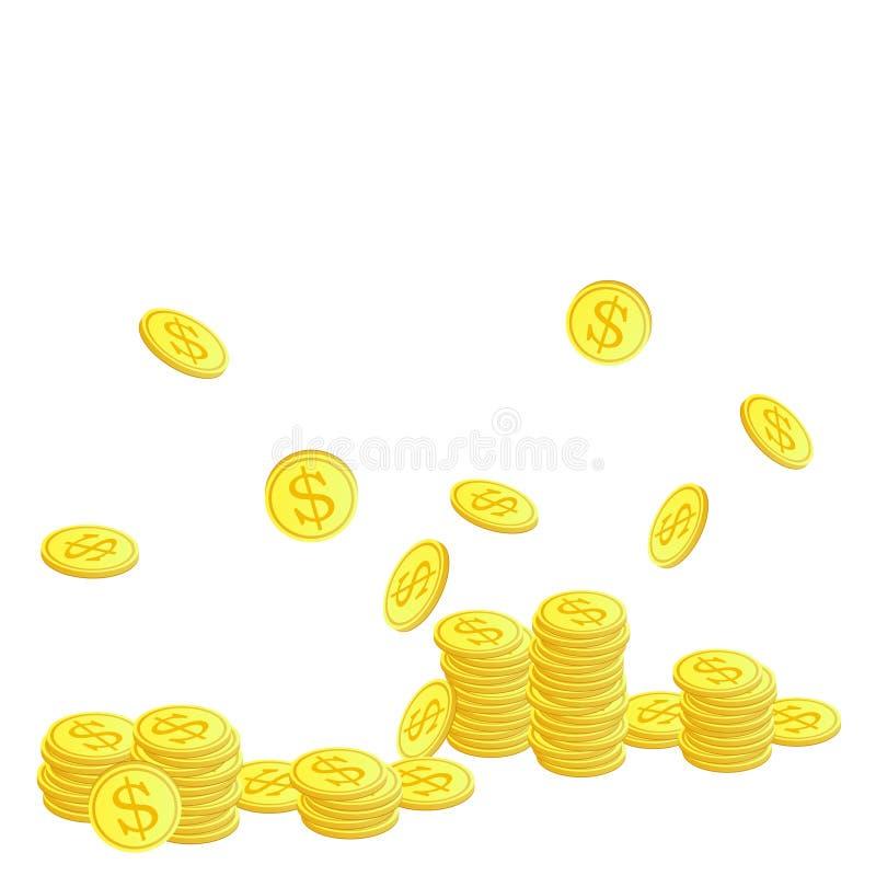 Moedas douradas com símbolo do dólar ilustração stock