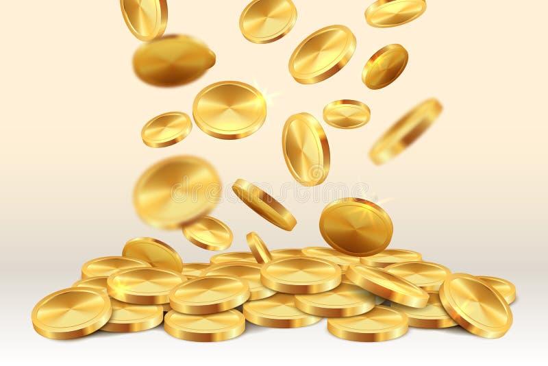 Moedas douradas de queda Do jogo realístico do ouro do jackpot 3D do casino da chuva do dinheiro tesouro de vencimento Moeda de q ilustração do vetor