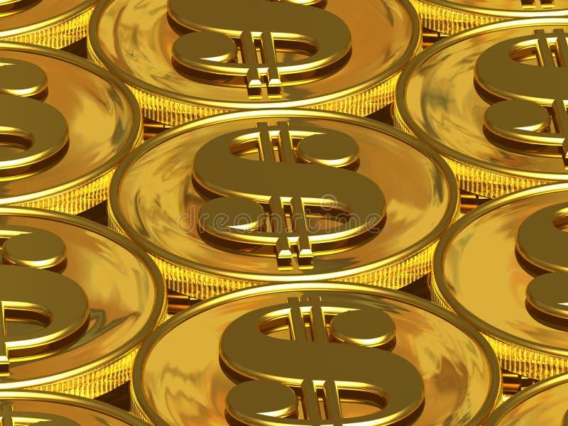 Moedas douradas do dólar ilustração do vetor