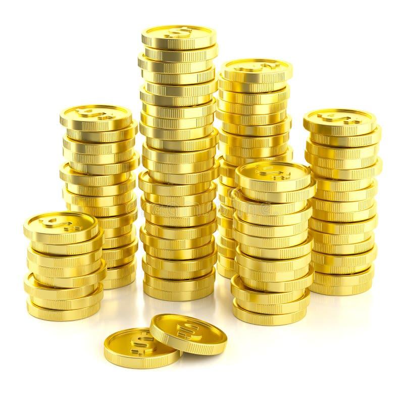 Moedas douradas do dólar da pilha ilustração stock