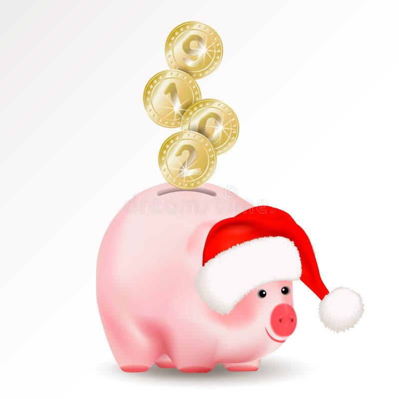 Moedas douradas do dinheiro do metal brilhante simbólico com os números 2019 do ano novo que caem no banco do porco do dinheiro I ilustração royalty free