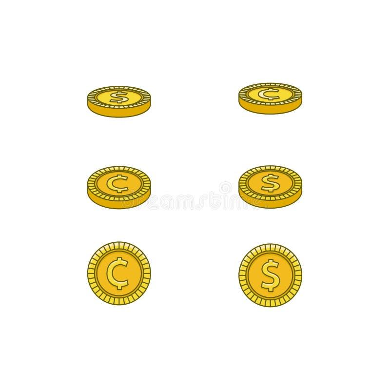Moedas douradas lisas do centavo do dólar do vetor ajustadas ilustração stock