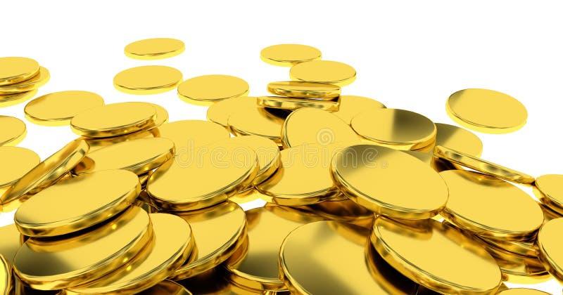 Moedas douradas no fundo branco ilustração royalty free