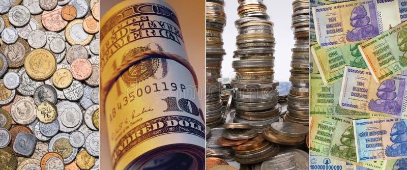 Moedas e cédulas - moeda internacional foto de stock