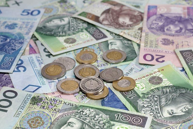 Moedas e cédulas polonesas do dinheiro foto de stock royalty free