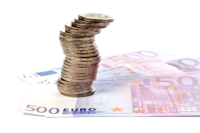 Moedas e euro- contas imagens de stock