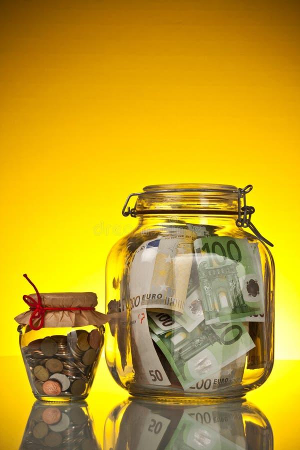 Moedas E Nota De Banco Imagem de Stock