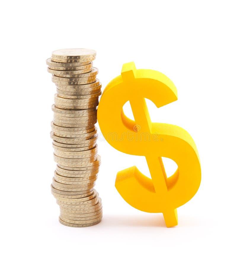 Moedas e símbolo do dólar imagem de stock royalty free