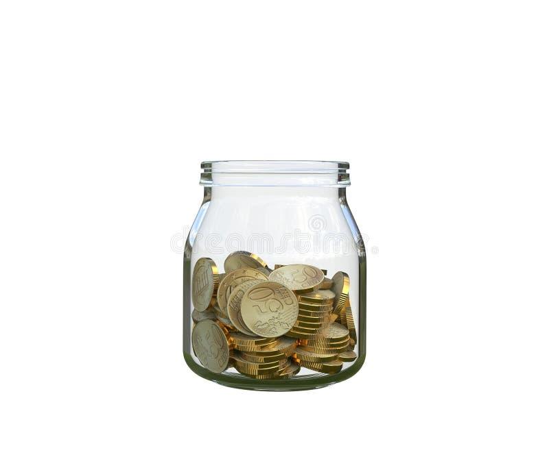 Moedas em um frasco de vidro imagens de stock royalty free