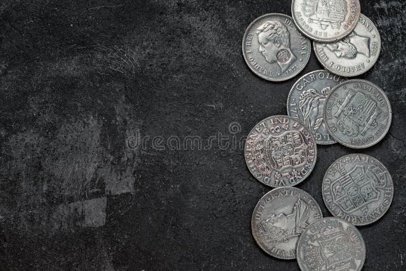 Moedas espanholas de prata antigas fotos de stock royalty free