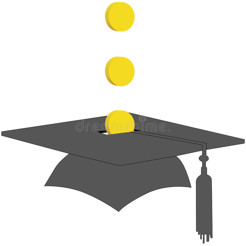 Moedas excepto no banco do fundo das economias da graduação da faculdade ilustração do vetor