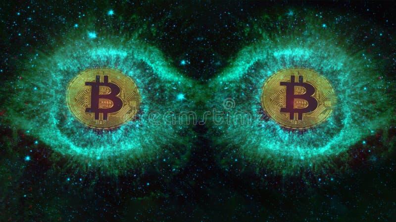 Moedas grandes dos olhos do bitcoin no espaço foto de stock royalty free