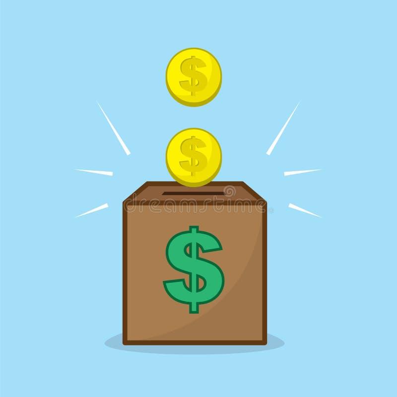 Moedas no banco ilustração stock